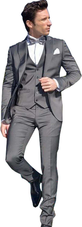 Newdeve Stylish 3 Pieces Slim Fit Deep Gray Formal Men Suit