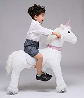 UFREE Horse Action Pony, Walking Horse Toy, Ride on Unicorn, 36 Inch Height Medium Pony Rider Horse, Best for Kids 4 to 9 Years Old(Unicorn with Pink Horn)