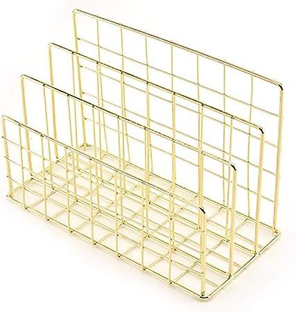 B/ücher Gold aus Metall DEDC Briefhalter Postkarten und mehr Mails Schreibtisch-Briefsortierer f/ür Briefe 3 Einschubf/ächer