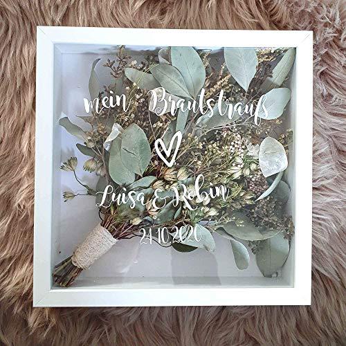 Dein Rahmen für deinen Brautstrauß - individuell mit Spruch und Namen | Hochzeit | Blumen | Dried Flower | Erinnerung | Deko | Wanddeko
