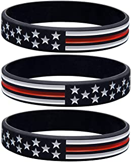 Sainstone Thin Red Line American Flag Bracelets - Power of Faith Silicone Rubber Wristband Band Set for Americanism, Patriotic, Holiday, Fundraisers, Awareness, Gifts for Teens Men Women