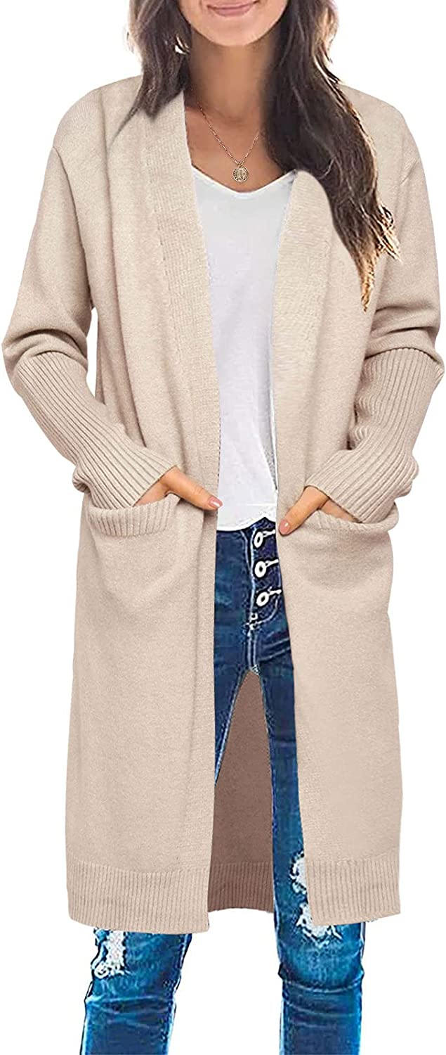 ZESICA Women's Casual Long Sleeve Open Front Draped Lightweight Knitted Cardigan Sweater Coat with Pockets