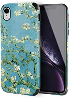iPhone XR Leather Case, ZVE Apple iPhone XR Slim Case with Print Pattern Shockproof Protective Case Cover for Apple iPhone XR, 6.1 inch - Van Gogh Bloom