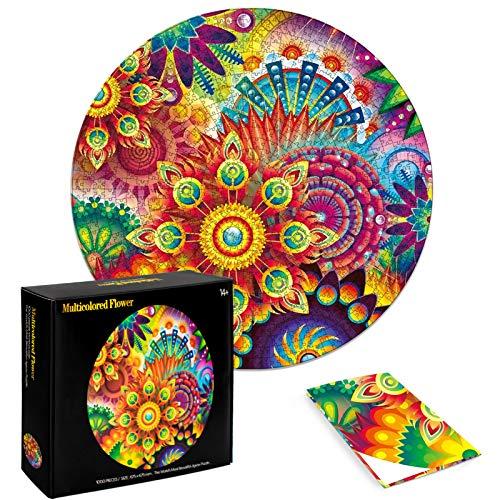 FALUCKYY 1000 Stück rundes Puzzle, schwieriges Puzzle DIY Circular Puzzle Spiel Herausforderung Intellektuelle Spiele Kinder Erwachsene Dekompression Spielzeug Home Decoration (Rundpuzzle, Blume)