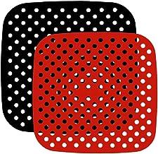 Angoily 2Pcs Forros Quadrado Anti- Aderente de Silicone Reutilizável Air Fritadeira Ar Fritadeira Cesta Acessórios Cesta d...