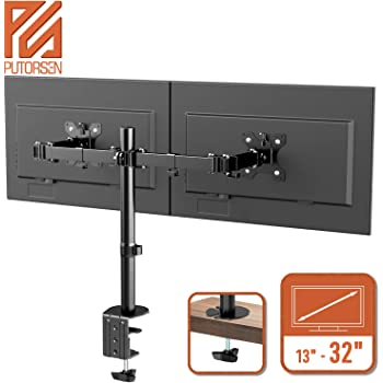 "PUTORSEN® PC Dual Monitor Arm Stand Desk Mount Bracket with Height Adjustable Double Arm Desktop Clamp Mount for 13""-32"" LCD LED Screens and Max VESA 100x100mm up to 8kg per Arm (Tilt Swivel Rotation)"