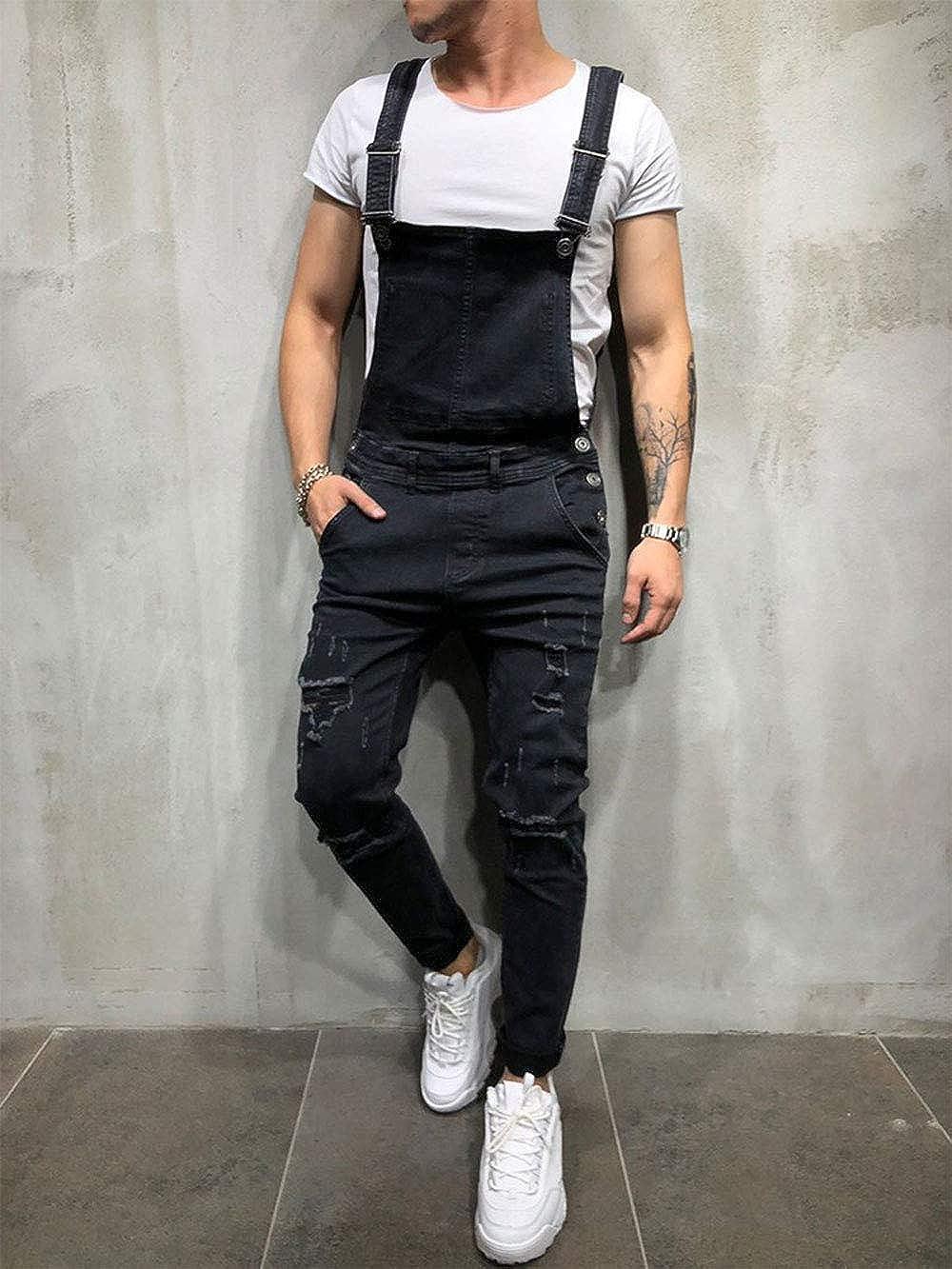 EVEDESIGN Mens Casual Ripped Denim Bib Overalls Fashion Slim Fit Washend Jean Jumpsuit