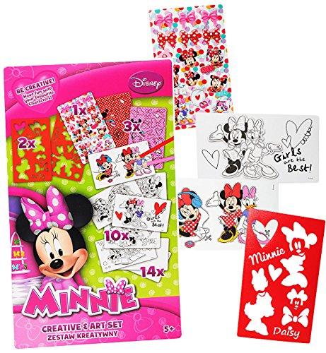 alles-meine.de GmbH Malbuch / Malset -  Disney Minnie Mouse  mit Schablonen + Sticker / Aufkleber + Motiv Papierbögen - Malvorlagen zum Ausmalen Malspaß - für Mädchen Kinder Ma..