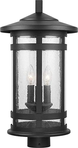 Capital Lighting 935533BK Mission Hills - 3 Light Outdoor Post Mount, Black Finish with Antiqued Seeded Glass