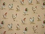 Impresiones de mini gallinas de pollo Country Side animales (aspecto de lino Tela cortina para tapicería–se vende por metro