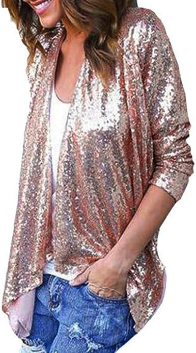 DEELIN Blusa De Camisa De Rebeca Irregular De Lentejuelas De Color SóLido De Manga Larga para Mujer