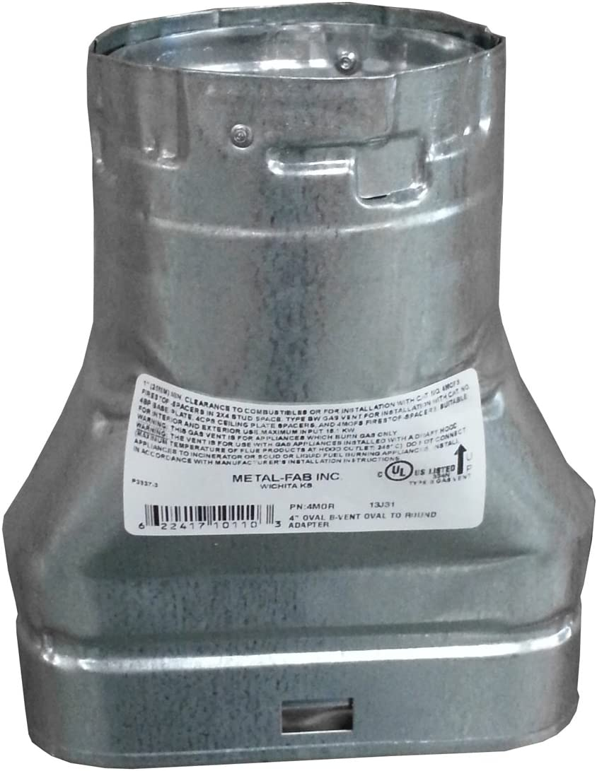 MetalFab 4MOR - B-vent Adapter Double Oval Online limited product Wall Finally resale start To Flue Round 4