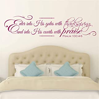 Lettering Words Wall Mural DIY Removable Sticker Decoration Enter into His Gates with Thanksgiving and into his Courts with Praise Bible Verse Christian