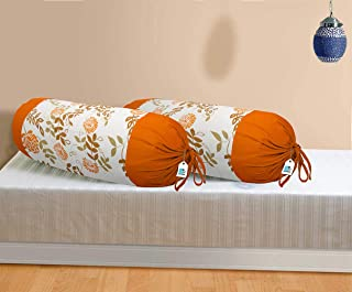 DECOTREE 100% Cotton 2 Pieces Bolster Cover Set - 16 X 32 inches, Orange