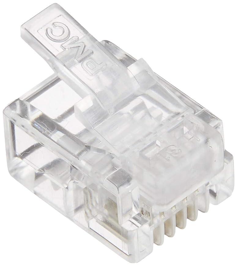 アクセシブルファイアル偽造タローズ TARO'S RJ11/12モジュラープラグ/コネクタ 6極4芯(6P4C) 100個入  エコ簡易パッケージ CRJ11-100P4