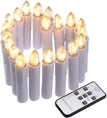 SoulBay 20pcs Christmas Window Candles with Timer Remote Control Suction Cups, LED Battery Operated Taper Candle Flicker Dimm
