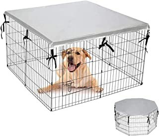"""EXPAWLORER Double Side Dog Playpen Cover- Sun-Proof & Water-Proof Top Kennel Cover for Outdoor and Indoor Fits 24"""" Crate w..."""