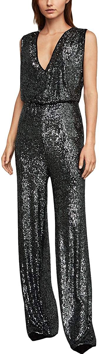 BCBGMAXAZRIA Womens Sale special price Sale special price Sequined Jumpsuit Leg Wide