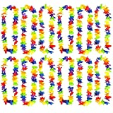 Kicko Rainbow Flower Leis - Hawaiian Luau Leis - 12 Pack - Cool and Fun Colorful Rainbow Flower Garland - Novelty and Gag Toys, Party Favor, Bag Stuffer, Ideas