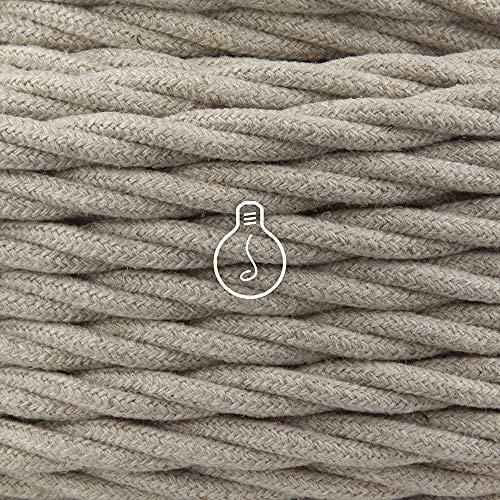 Amarcords - Cable de tela color TOBA, trenzado, cáñamo, 50 metros, con...