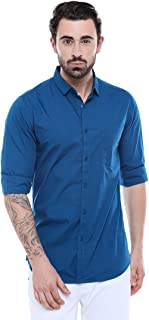 Dennis Lingo Men's Solid Blue Slim Fit Casual Shirt