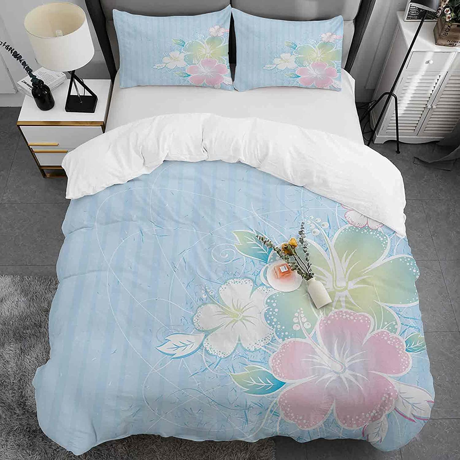 Ranking TOP19 Flower Duvet Cover Set Queen Size Flowers Gorgeous Hibiscus of Bouquet o