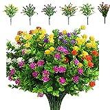 Wilsonzin 6 Paquetes De Flores Artificiales,6 Colores Arbustos Verdes Resistentes A Los Rayos UV Plantas Artificiales para Colgar En Interiores Y Exteriores, para ,PorchejardíN, DecoracióN De Bodas