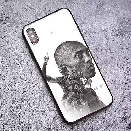 XMYP Estuche para teléfono de Kobe para iPhone 7/8, 7/8 Plus, 2020 Fundas de Vidrio Templado de Huellas Dactilares para fanáticos de Baloncesto, diseño de Estuche a prueb O-7/8