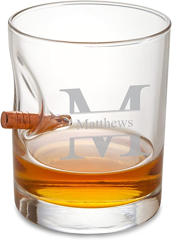 Personalized Bulletproof Lowball Whiskey Glass Stamped Monogram