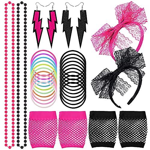 Deguisement Annee 80 Femme, Costume des Années 80 a Bandeaux Boucles d'oreilles Bracelets Gants et Colliers, Années 80 Costume de Fête pour la Fête des Années 80 et Années 80 Accessoires de Costume