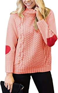 YONYWA Womens Plus Size Turtleneck Sweater Cable Knit Heart Elbow Patch Pullover
