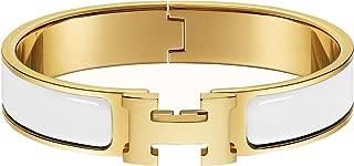 Bracelet Stainless Steel Buckle Bangle for Women Fashion Buckle Bangle Enamel Bracelet Unisex H Shaped Bracelet