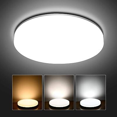 Hidixon Plafonnier LED 24W Luminaire Salle de Bain, 2400lm LED Lampe de Plafond Réglable 3000/4000/6000K Ø28cm Moderne Rond Plafonnier Salon pour Chambre Cuisine Balcon Garage Couloir