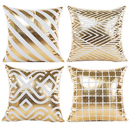 JOTOM Gold Foil Printing Funda de Almohada Home Decor, Diseño de Estampado en Caliente Funda de cojín para Sofa Car 45x45cm, Conjunto de 4 (Geometría de Estampado en Caliente 2)