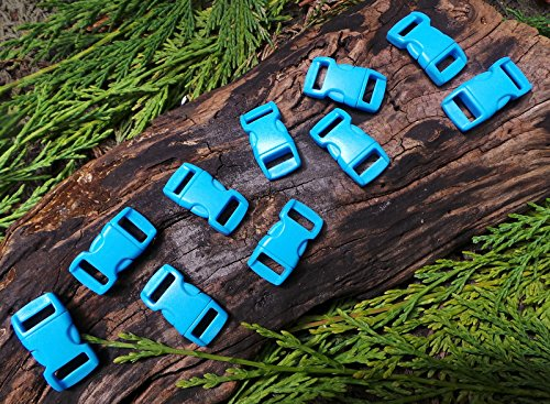 MD FlashLights Etc Ltd 10 x 10 mm 3/8 Boucles de Bracelet de Survie en paracorde à libération Rapide Bleu Acide