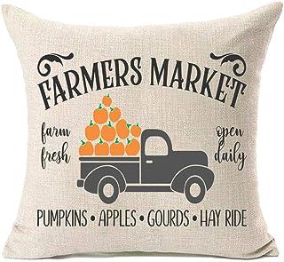 MFGNEH Fall Decor Pumpkin Truck Cotton Linen Fall Pillow Covers 18x18 Inches Farmers Market Farmhouse Autumn Cushion Case for Sofa