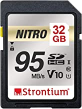 Strontium Nitro 32GB SD SDHC Flash Memory Card 95MB/s UHS-I U1 V10 Class 10 High Speed for DSLR Mirrorless Cameras (SRN32GSDU1QR)