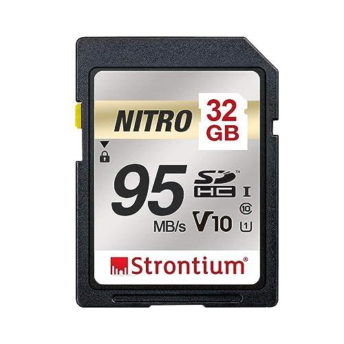Strontium Nitro 32GB SD SDHC UHS-I U1 V10 Class 10 Flash Memory Card (SRN32GSDU1QR)