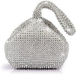 Silver (Mini Size) Triangle Full Rhinestones Clutch Bag