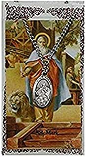 Saint Mark 1-inch Pewter Medal Pendant Necklace with Holy Prayer Card