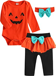 Dramiposs Baby Girl Halloween Outfit Infant Pumpkin Costume Pant Clothing Sets