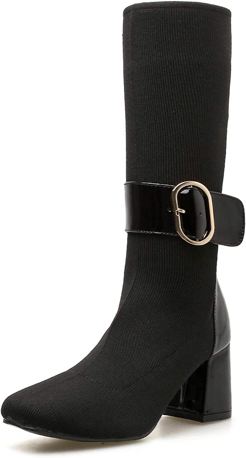 FengJingYuan Women's Boots, Thick high Heels, Square Head shoes, and Winter, Elastic Wool Boots