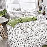 Set biancheria da letto di moda Bianco Verde Copripiumino matrimoniale Copripiumino Copripiumino Federa Queen Size Lenzuolo Fiore Griglia classica per 220 * 240 cm C