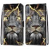 Nadoli Bunt Leder Hülle für Samsung Galaxy A7 2018,Cool Lustig Tier Blumen Schmetterling Entwurf Magnetverschluss Lanyard Flip Cover Brieftasche Schutzhülle mit Kartenfächern -