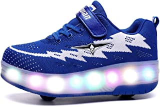 Kids Two Wheels Shoes with Lights Rechargeable Roller Skates Shoes Retractable Wheels Shoes LED Flashing Sneakers for Unisex Girls Boys Beginners Gift