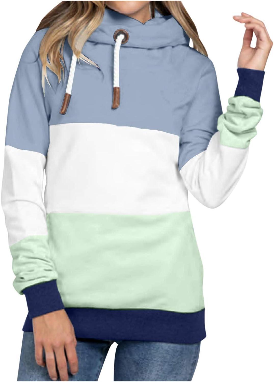 Womens Ranking TOP8 Cowl Neck Color Block Sleeve Long Casual Sweatshi Hoodies Limited price sale