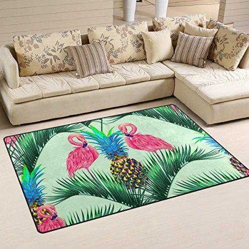 Use7 Pink Flamingo Exotischer Vogel-Teppich mit Palmenblatt-Motiv, rutschfeste Fußmatte für Kinderzimmer, Wohnzimmer und Schlafzimmer, Textil, mehrfarbig, 50 x 80 cm(1.7' x 2.6' ft)