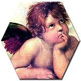 Wandbild Raffael Engel I Detail Sixtinische Madonna - 40 cm Sechseck - Alte Meister Berühmte Gemälde Leinwandbild Kunstdruck Bild auf Leinwand
