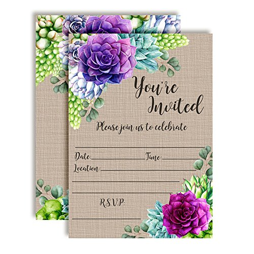 Watercolor Succulent Party Invitations for Birthdays, Baby Showers, Bridal Showers and More! 20 5'x7' Fill in Cards with Twenty White Envelopes by AmandaCreation