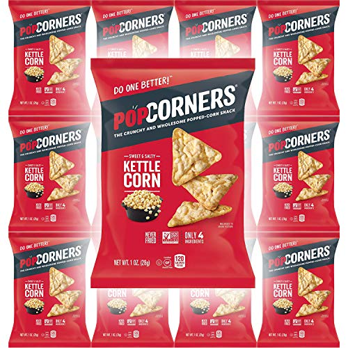 Popcorners Sweet & Salty Kettle Corn, Carnival Kettle Crispy and Crunchy Popped Corn Chips, Gluten-Free, 1oz Bag (Pack of 12, Total of 12 Oz)